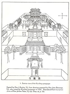 Bird's eye view of the Jewish synagogue of Kaifeng, drawn by the Jesuit Père Jean Domenge in 1722.