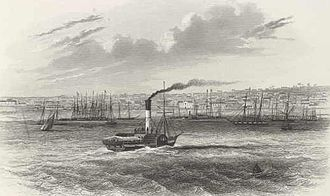 Geelong - A paddlesteamer approaches busy Geelong Harbour in 1857.
