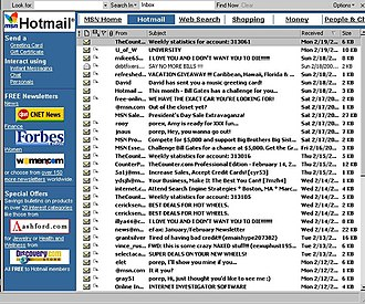 Outlook.com - An old Hotmail inbox layout embedded in Microsoft Outlook