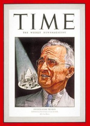 "Truman Committee - ""Investigator Truman"" on the cover of ''Time'' magazine in March 1943"