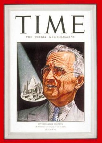 """Truman Committee - """"Investigator Truman"""" on the cover of Time magazine in March 1943"""