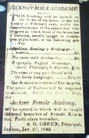 Union University - 1822 ad for Jackson Male Academy.
