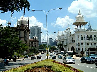 Kuala Lumpur railway station - The Railway Station (right) contrasts with the Railway Administration Building across the road (left).