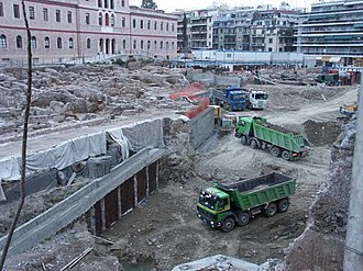 Acropolis Museum - Εarthworks in the archaeological site in Makrygianni, during the construction of the museum.