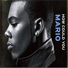 A man is facing the left of the cover with his eyes closed. Behind him is his name and the song's title placed horizontally, both colored light blue and white respectively.