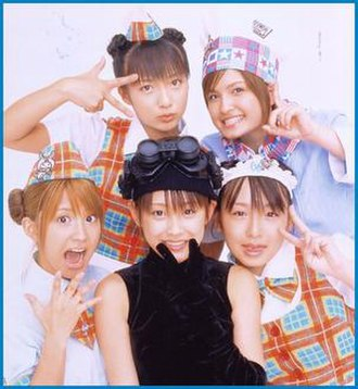 Minimoni - All five members of Minimoni in a still from Okashi na Daibōken (2002).