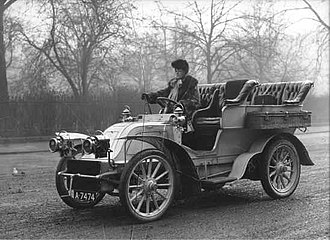 George Albu - Lady Albu at wheel of CGV, London April 1905