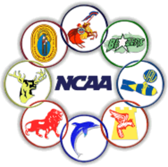 "National Collegiate Athletic Association (Philippines) - The old NCAA logo. The eight circles are the logos of the eight member schools (clockwise from top: Letran, St. Benilde, JRU, Mapua, PCU (former member school, currently in NAASCU), San Beda, San Sebastian, Perpetual). The ""NCAA"" logo is the same as that used by the American NCAA. The logo used from 1999 to 2004"