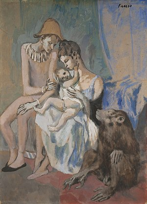 Gothenburg Museum of Art - Pablo Picasso, 1905, Acrobat's Family with a Monkey (Famille au Singe), collage, gouache, watercolor, pastel and India ink on cardboard, 104 x 75 cm