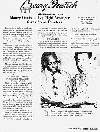 Maury Deutsch - Charlie Parker studying with Maury Deutsch (Download high resolution to read article)