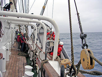 Ship's tender - RIB tender of Prince William being winched aboard under less-than-ideal conditions in the North Sea.