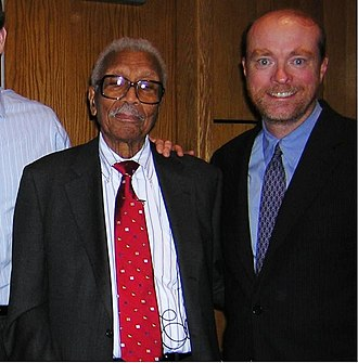 NAACP v. Alabama - Lead attorney on NAACP v. Alabama, Judge Robert L. Carter (left), with the dean of Georgetown University Law Center, William Treanor