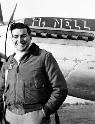 """Robert V. Whitlow - Whitlow in front of his P-51D, """"Hi Nell""""."""