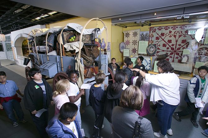 Students visiting one of the Museum's exhibits