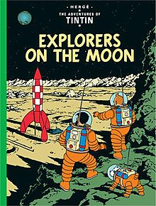 Wearing space suits, Tintin, Snowy, and Haddock are exploring the surface of the moon, with their rocket ship in the background.
