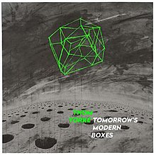 "A box drawn from a series of l ight green lines against a grey background. Light green bold text to the bottom right reads ""Thom Yorke""; white bold text beside it reads ""Tomorrow's Modern Boxes""."