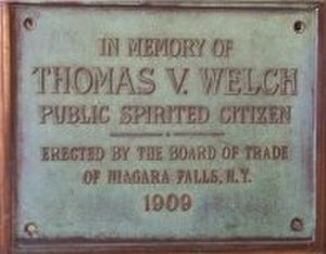 Thomas Vincent Welch - Plaque dedicated to T.V. Welch at Niagara Falls