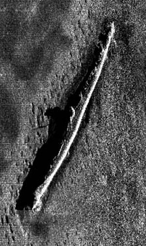 USS S-5 (SS-110) - NOAAS ''Whiting'''s first sonar image of the wreck of S-5 on the ocean bottom, made in late July 2001 when Whiting discovered the wreck's exact location for the first time.