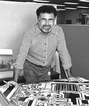 Bob Widlar - Bob Widlar with the artwork of the LM10, 1977.