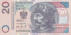 Polish coins and banknotes - Image: 20zl r