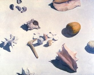 "Arthur Lerner - Arthur Lerner, Bones, Gourd and Shells, oil on linen, 48"" x 60"", 1990."