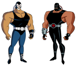 Bane in other media - Bane, as he is depicted in Batman: The Animated Series (left) and subsequent appearances (right).