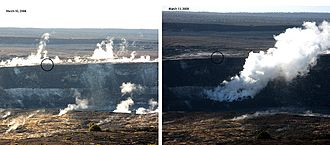 Halemaʻumaʻu Crater - Before and after comparison of the new gas vent. The crater overlook is circled for reference.