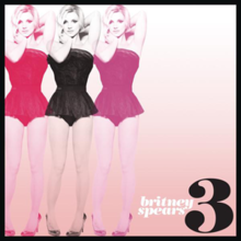 "The image of a blonde woman wearing a black short dress, repeated three times in colors red, black and pink, along the right side of the image. The image has a black border, on the lower left corner, the number ""3"" is written in black. On the left of the number, the words ""britney spears"" are written in small letters."