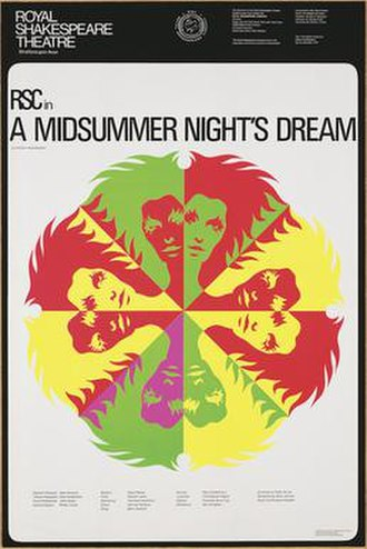 RSC production of A Midsummer Night's Dream (1970) - Poster for the production. It uses a modern graphical style, reflecting the production's break with the past.