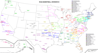 College basketball - A map of all NCAA Division II basketball teams.