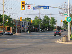 Clarkson Village, looking eastward at the corner of Lakeshore Road West and Clarkson Road South