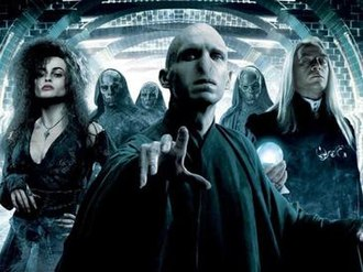 Death Eater - Voldemort (centre) with Bellatrix Lestrange (left), Lucius Malfoy (right) and several masked Death Eaters (back) in Harry Potter and the Order of the Phoenix