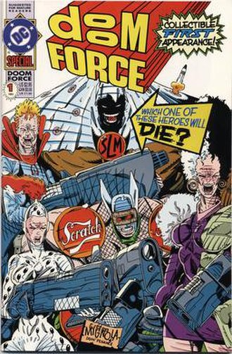 Doom Patrol - Cover of Doom Force one-shot, parody of X-Force.  Art by Keith Giffen and Mike Mignola.
