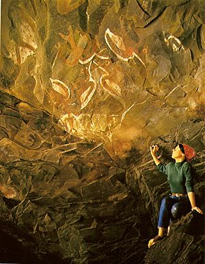 Polynesian culture - Birdmen (Tangata manu) paintings in a cave at the foot of Rano Kau, Rapa Nui (Easter island).