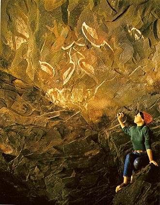 Oceanian art - Birdmen (Tangata manu) paintings in a cave at the foot of Rano Kau, Rapa Nui (Easter island).