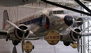 Eastern Air Lines - An Eastern Air Lines DC-3, on display in the National Air and Space Museum in Washington, D.C.