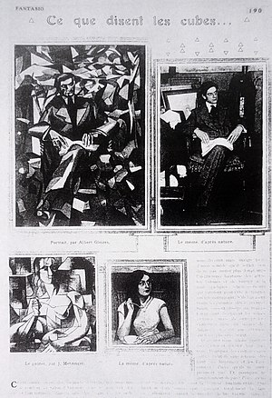 Le goûter (Tea Time) - Page from the periodical Fantasio, 15 October 1911, featuring Portrait de Jacques Nayral by Albert Gleizes (1911) and Le goûter (Tea Time) by Jean Metzinger