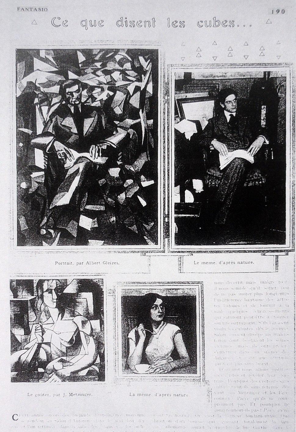 Fantasio, 15 October 1911, Albert Gleizes, Portrait of Jacques Nayral, Jean Metzinger, Le Gouter, Tea Time, 1911..