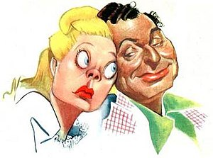 The Phil Harris-Alice Faye Show - Alice Faye and Phil Harris in 1947 NBC promotional art by Sam Berman