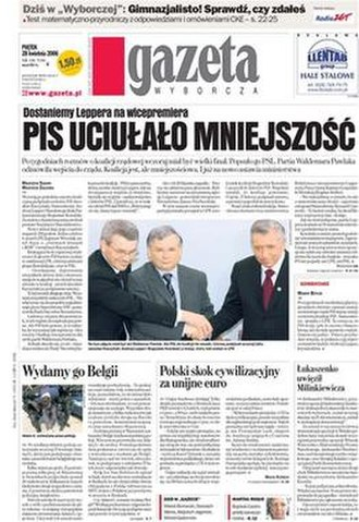 Gazeta Wyborcza - Front page of an April 2006 issue.