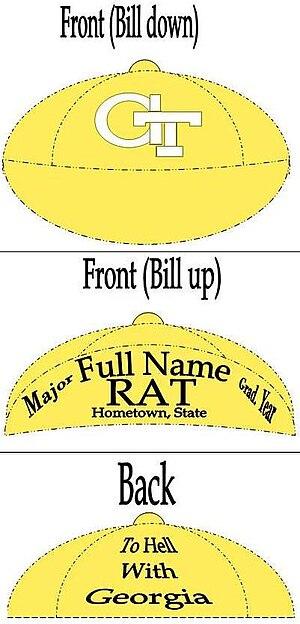 Georgia Tech Yellow Jacket Marching Band - Georgia Tech Rat Cap inscription diagram.