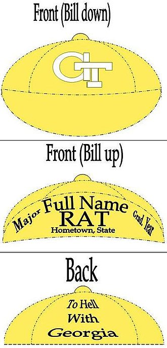 Georgia Tech Yellow Jacket Marching Band - Georgia Tech Rat Cap inscription diagram.