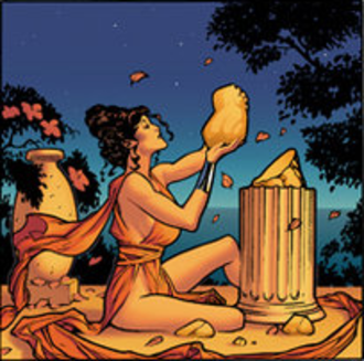 Themyscira (DC Comics) - Queen Hippolyta uses the soil of Themyscira to create her daughter Diana. Art by Adam Hughes.
