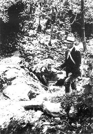 Rapidan Camp - President Hoover fly fishing at Rapidan Camp