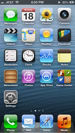 The iOS 6 home screen