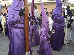The distinctive cloaks and hoods of the Easter Holy Week processions