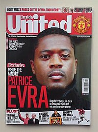 "At the top, white text on a red background reads ""Inside United"". Below is a photograph of a black man with the caption ""Inside the mind of Patrice Evra""."