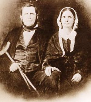 Crenshaw House (Gallatin County, Illinois) - John Hart Crenshaw and his wife, Francine. Crenshaw carried a crutch because of his maimed leg.