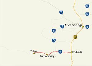 Lasseter Highway - Image: Lasseter Highway route map