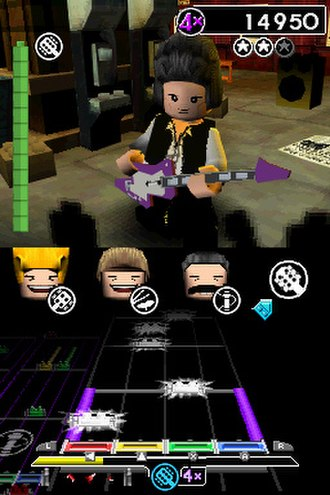 Lego Rock Band - Gameplay in the Nintendo DS version of Lego Rock Band is similar to the PlayStation Portable game Rock Band Unplugged. The DS version includes the same musician avatars, here of Queen, as the console games (with the exception of Spinal Tap).